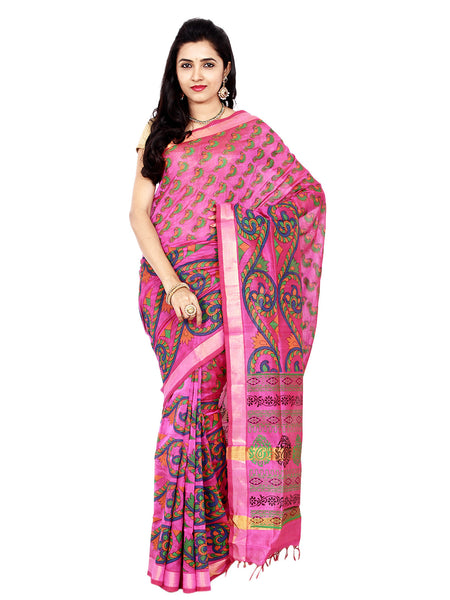 Anagha Sarees Silk-cotton saree Hand Printed Mangalagiri Silk-Cotton Saree - Pink : ANA_14