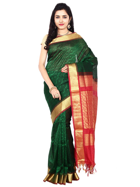 Anagha Sarees Silk-cotton saree Handloom Jacquard Kanjivaram Silk-Cotton Saree - Dark Green : ANA_03