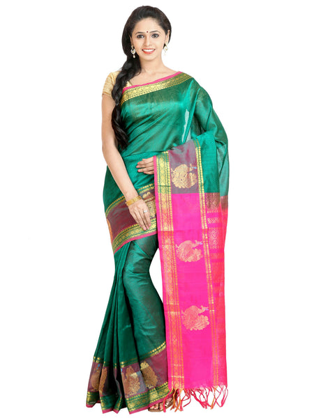 Anagha Sarees Silk-cotton saree Handloom Jacquard Kanjivaram Silk-Cotton Saree - Green : ANA_54