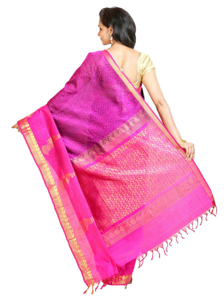 Anagha Sarees Silk-cotton saree Handloom Jacquard Kanjivaram Silk-Cotton Saree - Magenta : ANA_52
