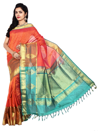 Handloom Jacquard Kanjivaram Silk-Cotton Saree - Orange : ANA_008 - Anagha Sarees