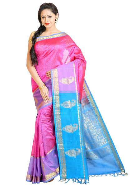 Anagha Sarees Silk-cotton saree Handloom Jacquard Kanjivaram Silk-Cotton Saree - Pink : ANA_51