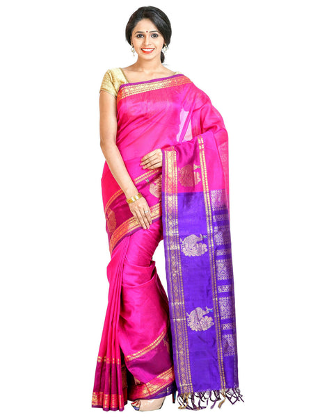 Anagha Sarees Silk-cotton saree Handloom Jacquard Kanjivaram Silk-Cotton Saree - Pink/Peacock Butta : ANA_58