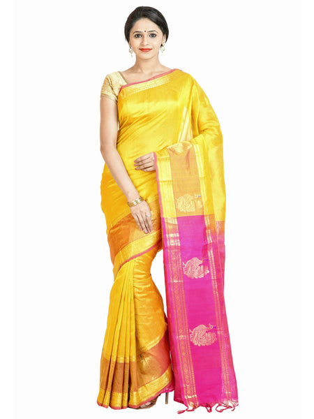 Anagha Sarees Silk-cotton saree Handloom Jacquard Kanjivaram Silk-Cotton Saree - Yellow : ANA_55