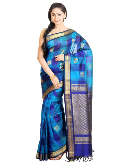 Handloom Kanjivaram Checkered Silk-Cotton Saree - Blue : ANA_047 - Anagha Sarees