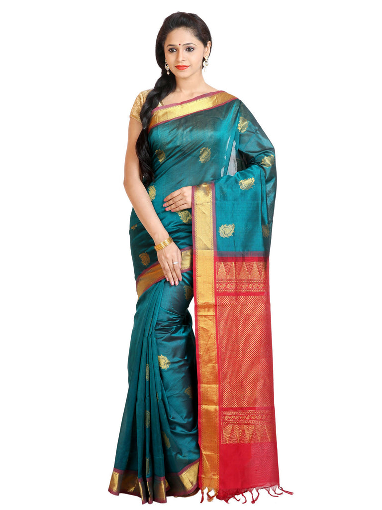 Anagha Sarees Silk-cotton saree Handloom Kanjivaram Silk-Cotton Saree - Bluish Green : ANA_46