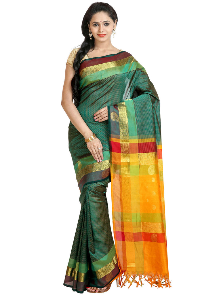 Anagha Sarees Silk-cotton saree Handloom Kanjivaram Silk-Cotton Saree - Double Color Border : ANA_48