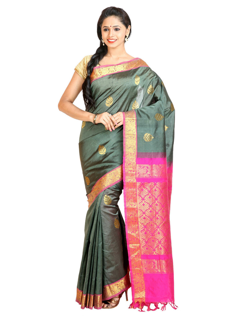 Anagha Sarees Silk-cotton saree Handloom Kanjivaram Silk-Cotton Saree  -  Greenish Grey : ANA_45