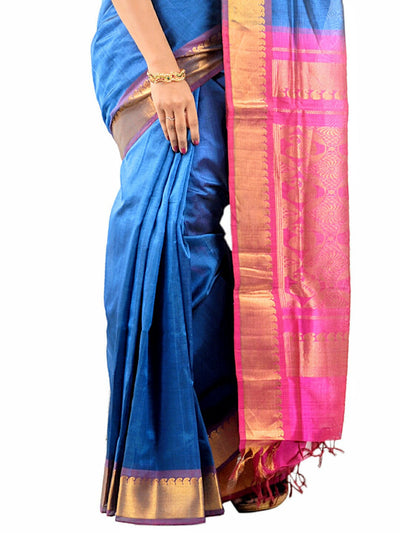 Handloom Kanjivaram Silk-Cotton Saree - Peacock Blue : ANA_028 - Anagha Sarees