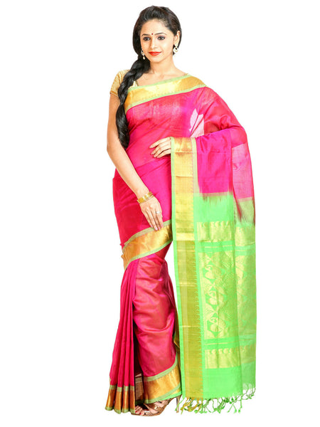 Anagha Sarees Silk-cotton saree Handloom Kanjivaram Silk-Cotton Saree - Pink : ANA_49