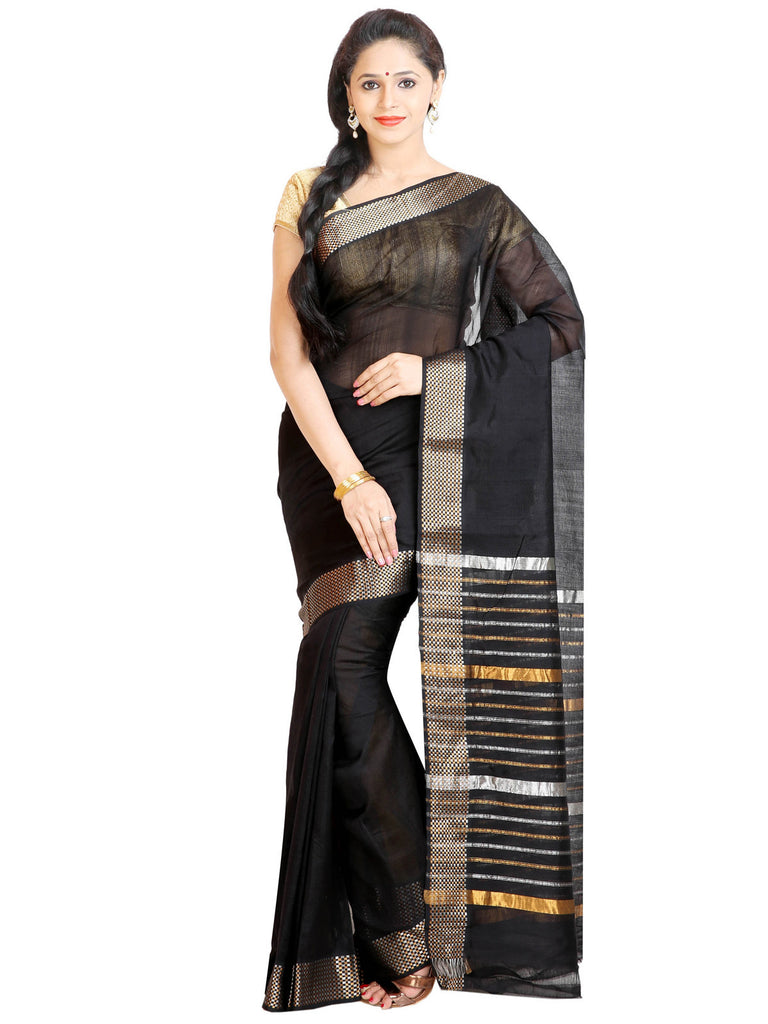 Anagha Sarees Silk-cotton saree Handloom Mangalagiri Silk-Cotton Saree - Black : ANA_44