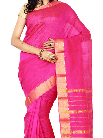 Anagha Sarees Silk-cotton saree Handloom Mangalagiri Silk-Cotton Saree -  Pink : ANA_10