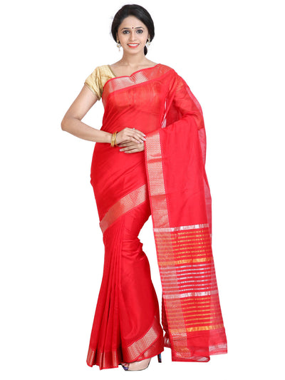 Handloom Mangalagiri Silk-Cotton Saree - Tomato red : ANA_043 - Anagha Sarees