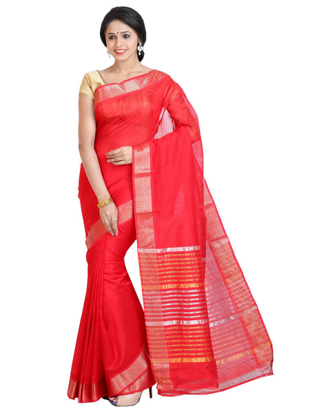 Anagha Sarees Silk-cotton saree Handloom Mangalagiri Silk-Cotton Saree - Tomato red : ANA_43