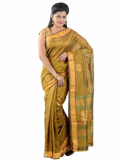 Anagha Sarees Silk-cotton saree Handloom Uppada Silk-Cotton Saree - Olive Green : ANA_35