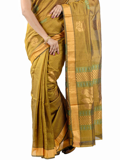 Handloom Uppada Silk-Cotton Saree - Olive Green : ANA_035 - Anagha Sarees