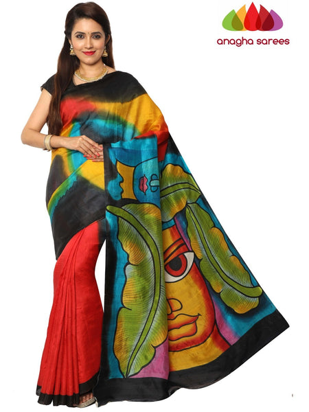 Anagha Sarees Silk saree Hand Painted Silk Saree - Multicolor : ANA_F17