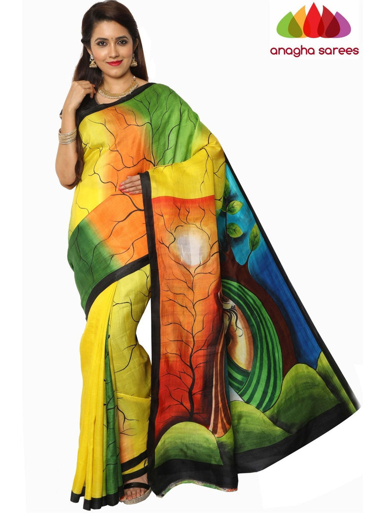 Hand Painted Silk Saree - Multicolor : ANA_F18