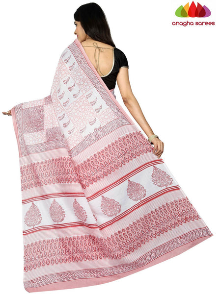 Bagru Print Soft Cotton Saree - Light Pink ANA_C61 - Anagha Sarees