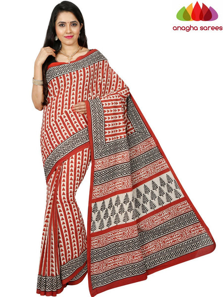Bagru Print Soft Cotton Saree - Red ANA_D75
