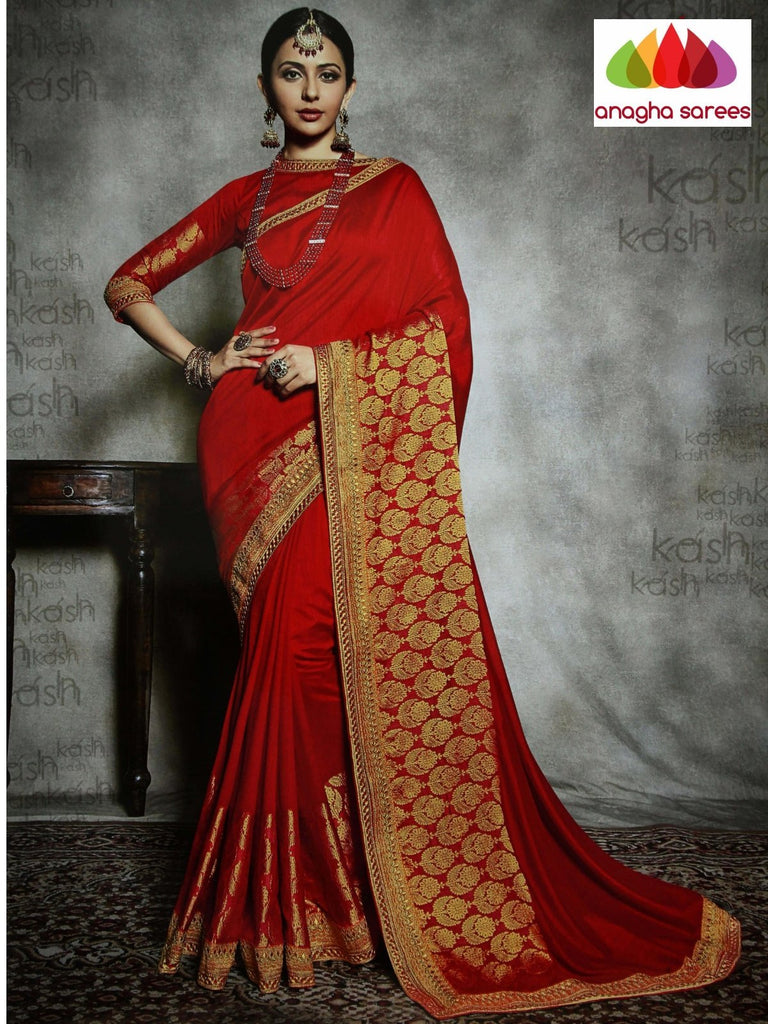 Anagha Sarees Soft khadi silk Length=6.2 metres  Width=46 inches / Red Designer Soft Khadi Silk Saree - Red : ANA_I18