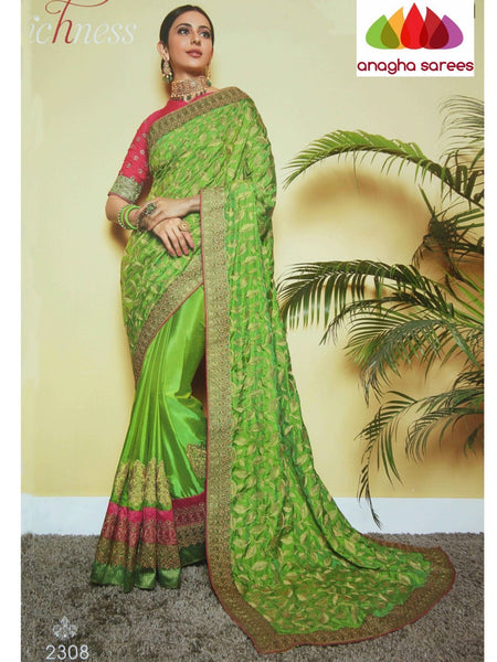 Anagha Sarees Soft khadi silk Length=6.2 metres  Width=46 inches / Red Designer Soft Silk Saree - Parrot Green : ANA_I19