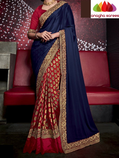 Designer Soft Shiffon Silk Saree - Blue - Red ANA_723 - Anagha Sarees