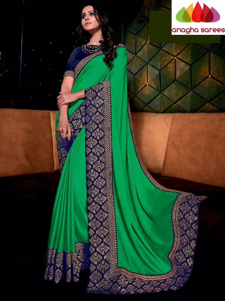 Designer Soft Shiffon Silk Saree - Green - Blue ANA_724 Anagha Sarees