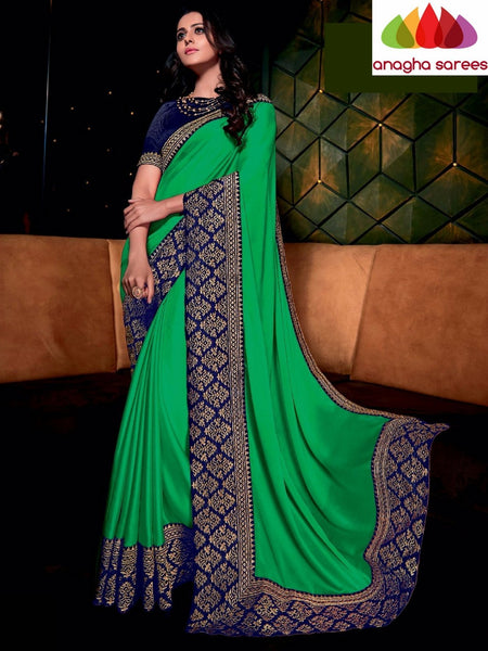 Designer Soft Shiffon Silk Saree - Green - Blue ANA_724 - Anagha Sarees