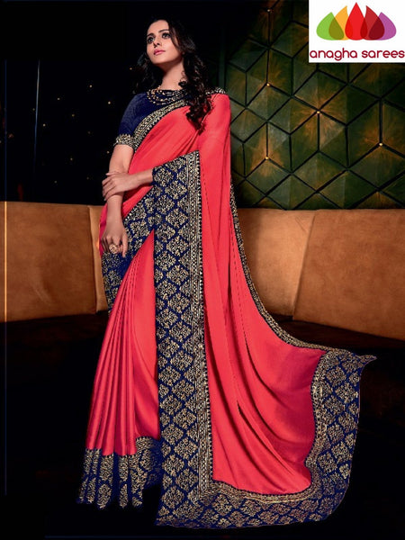 Designer Soft Shiffon Silk Saree - Red - Blue ANA_731
