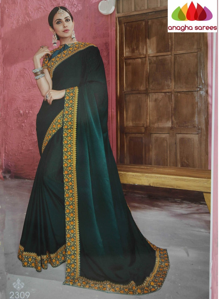 d3d89412c3 Anagha Sarees Soft shiffon silk Length=6.2 metres Width=46 inches / Dark  Green