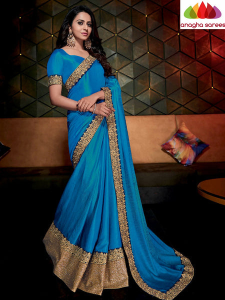 Designer Soft Silk Saree - Blue  ANA_483