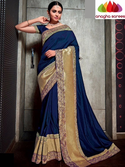 Designer Soft Silk Saree - Dark Blue ANA_719 - Anagha Sarees