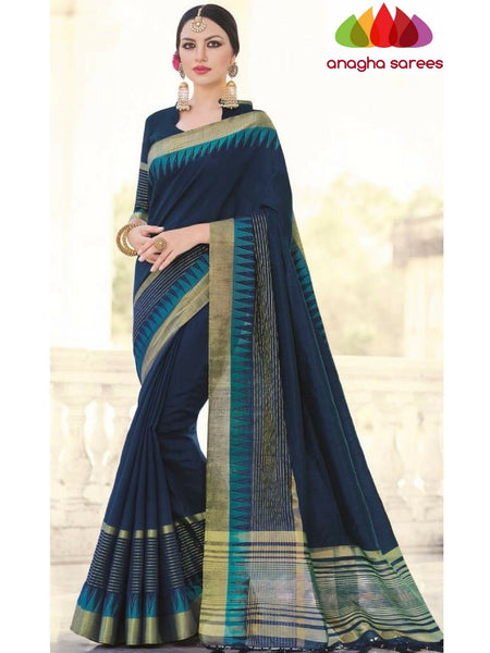 Designer Soft Silk Saree - Dark Blue ANA_726 - Anagha Sarees