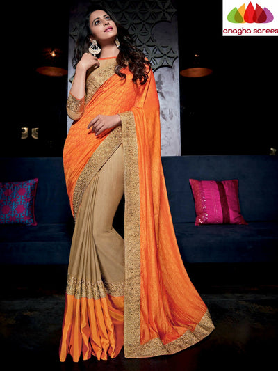 Designer Soft Silk Saree - Orange/Beige ANA_486 - Anagha Sarees