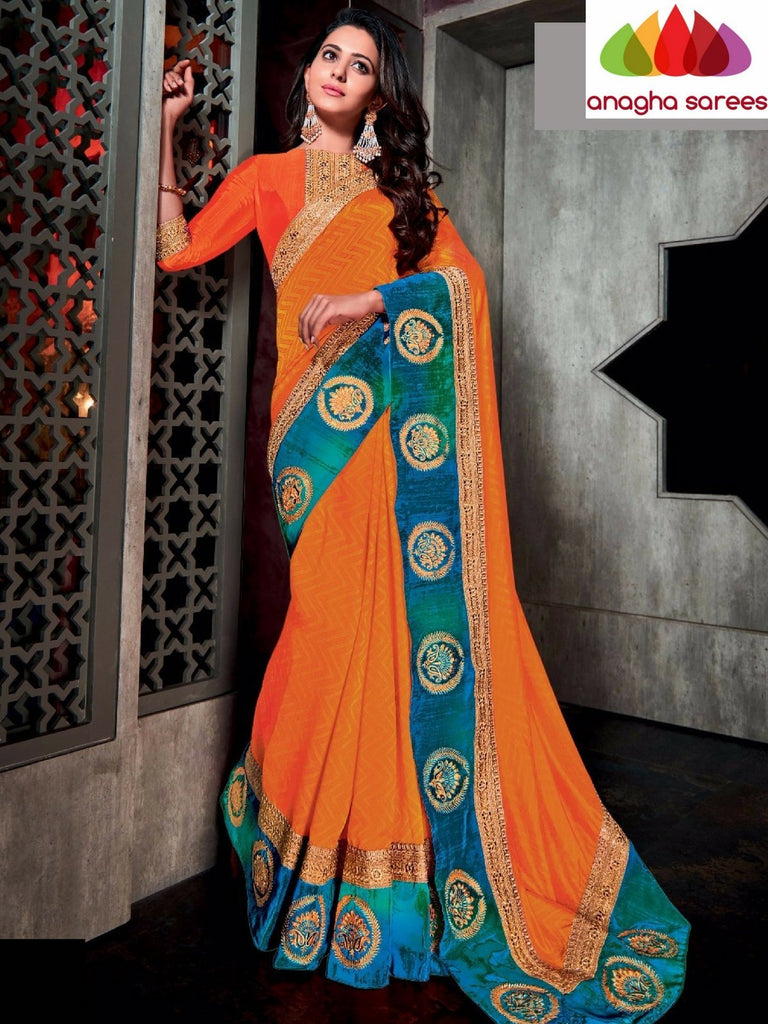 Designer Soft Silk Saree - Orange - Blue ANA_732 Anagha Sarees