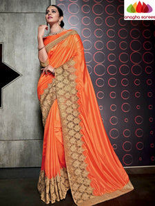 Designer Soft Silk Saree - Orange  ANA_481