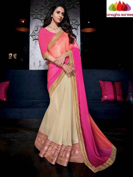 Designer Soft Shiffon Silk Saree - Pink/Cream ANA_489