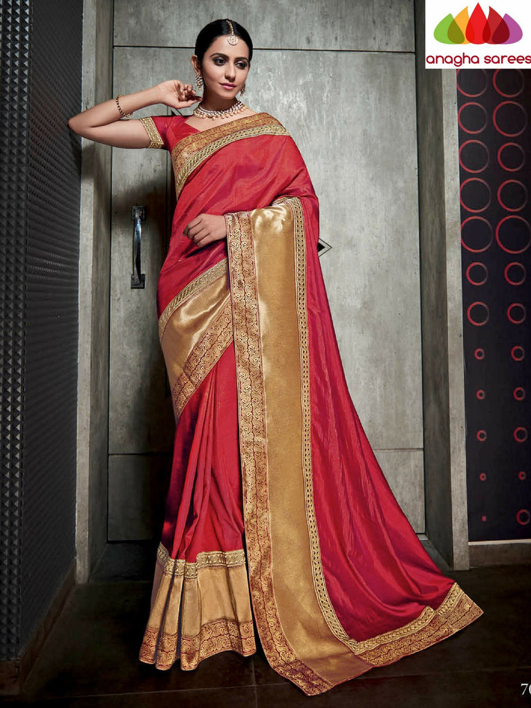 Designer Soft Silk Saree - Red ANA_491 Anagha Sarees