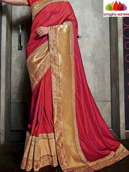 Designer Soft Silk Saree - Red ANA_491 - Anagha Sarees