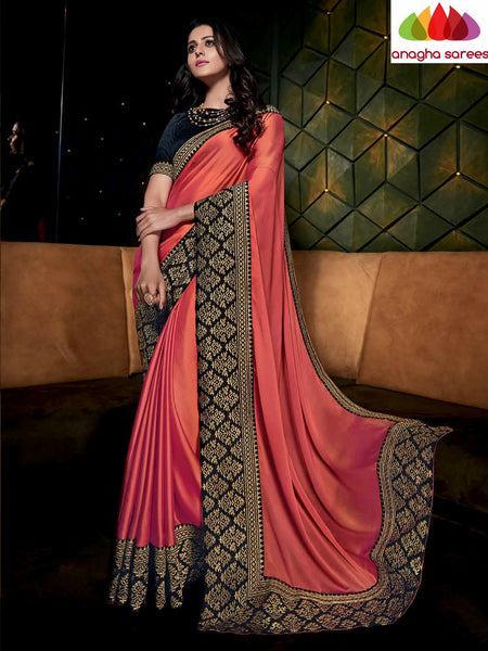 Designer Soft Shiffon Silk Saree - Rust/Black ANA_490 - Anagha Sarees