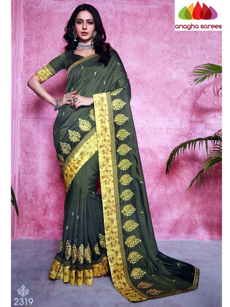Anagha Sarees Soft silk Length=6.2 metres  Width=46 inches / Maroon Designer Soft Silk Saree - Cement Grey : ANA_I36