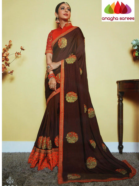 Anagha Sarees Soft silk Length=6.2 metres  Width=46 inches / Navy Blue/Pink Designer Soft Silk Saree - Coffee Brown : ANA_I22