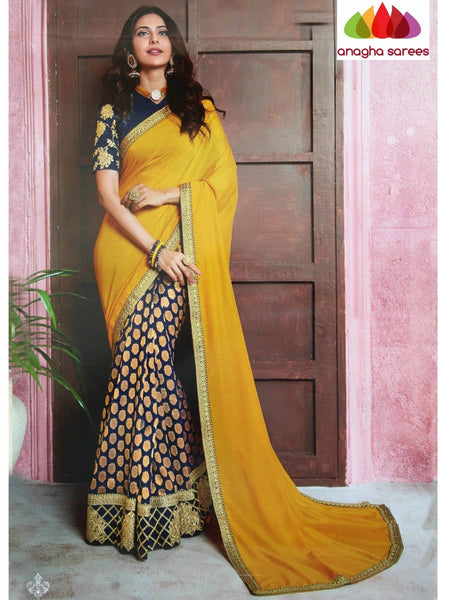 Anagha Sarees Soft silk Length=6.2 metres  Width=46 inches / Navy Blue/Pink Designer Soft Silk Saree - Mustard/Blue : ANA_I37