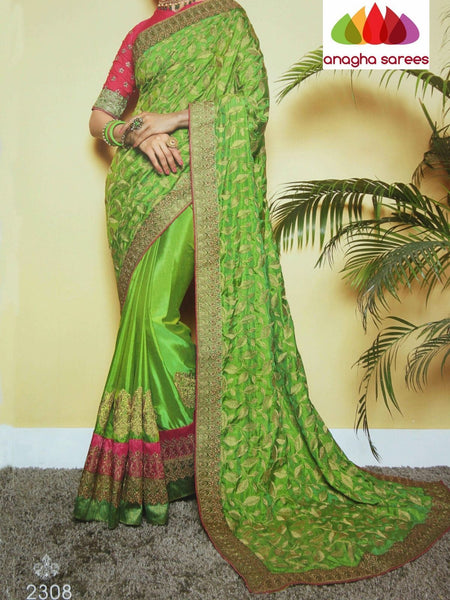 Anagha Sarees Soft silk Length=6.2 metres  Width=46 inches / parrot green Designer Soft Silk Saree - Parrot Green : ANA_I19