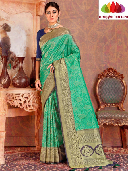 Anagha Sarees Soft silk Length=6.3metres, width=45 inches / Green Designer Soft Silk Saree - Green : ANA_L19