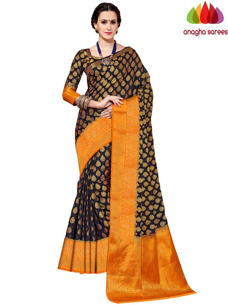 Designer Tussar Semi Silk Saree - Black ANA_A55