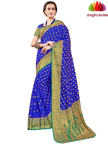 Designer Tussar Semi Silk Saree - Ink Blue ANA_A57