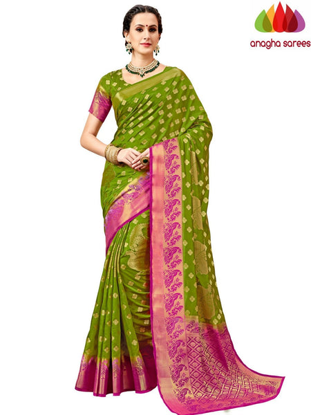 Designer Tussar Semi Silk Saree - Light Green ANA_A99