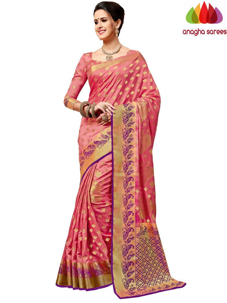 Designer Tussar Semi Silk Saree - Light Pink ANA_A67